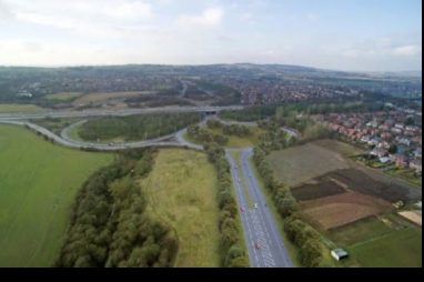 Aerial photo of proposed M58 Wigan Link Road, part of £67m of road improvements announced by Highways England.