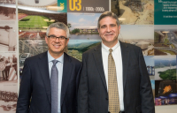 Louis Berger CEO Jim Stamatis (left) and Tom Topolski, president of Louis Berger's international operations, pictured at their new London office opening.
