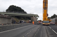 Installation of the 53-metre Fort Overbridge on the A1.