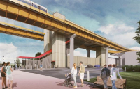 CGI shows an Automated People Mover at HS2's new Birmingham interchange station, where construction work is ready to begin.