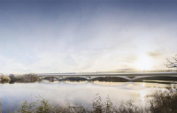 CGI of the HS2 Colne Valley Viaduct, looking south.