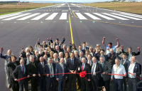Irish taoiseach Leo Varadkar (pictured centre) at the official opening of the new runway at Ireland West Airport.