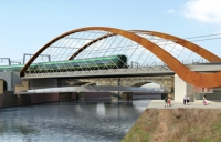 Computer generated image of the proposed Ordsall Chord.