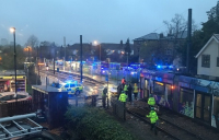 Emergency services on the scene in Croydon following a tram derailment. Photo: Hannah Collier (@hannahCollier1)