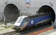 Eurotunnel shuttle emerges from the Channel Tunnel