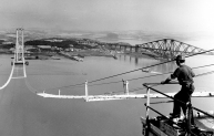 Forth Road bridge construction